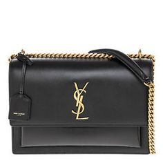 0675e96a3f4b Yves Saint Laurent Women s Sunset Large Monogram YSL Crossbody Bag Black  Guaranteed Authentic