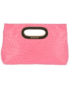 Pink leather clutch from Michael Kors featuring a top handle, silver-tone hardware, internal zip fastening pocket and fully lined.