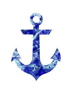 Navy blue anchor print anchor waterclolor by FluidDiamondArt