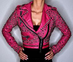 New Handmade Women's Pink Full Silver Studded Brando Punk Cowhide Leather Motorcycle Jacket sold by The Bespoke Store. Shop more products from The Bespoke Store on Storenvy, the home of independent small businesses all over the world. Leather Store, Studded Jacket, Jackets For Women, Clothes For Women, Cowhide Leather, Cow Leather, Colorful Fashion, Motorcycle Jacket, Pink Ladies