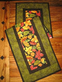 Fall Table Runner Autumn Orange Yellow Green Leaves Quilted