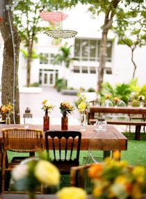 Another glance with outdoor reception using hanging parasols. #reception