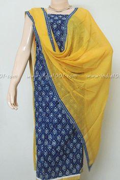 Designer Indigo Cotton Unstitched Suit fabric