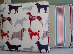 Hand crafted cushion cover  made in novelty dog fabric piped in contrasting colour. £18.00, via Etsy.