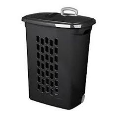 Sterilite Black Wheeled Laundry Hamper