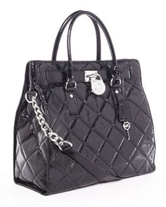 MICHAEL Michael Kors Hamilton Quilted Tote, Black Patent.