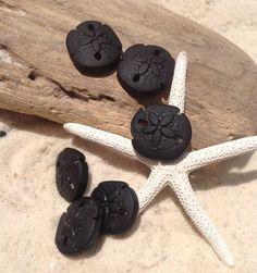 Sale Sea Glass Sand Dollar Bead 2pcs (21 x 19 mm) earring size-Beach Jewelry-Deep Jet Black- Glass-Supplies,Wholesale beads,findings, glass by SeasideJewelry1 on Etsy