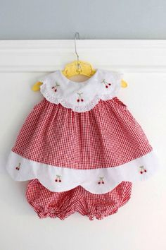 Months: Red Gingham Baby Outfit, Dress and Bloomer Set, Seersucker Gingham with White Scalloped Collar and Hem with Embroidered Cherries Baby Outfits, Little Dresses, Little Girl Dresses, Toddler Outfits, Kids Outfits, Girls Dresses, Vintage Baby Dresses, Baby Dress Design, Baby Sewing Projects