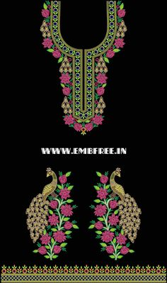 kurta and dress embroidery design with gala Neck and mirror , Border Embroidery Designs, Floral Embroidery Patterns, Embroidery Suits Design, Embroidery Works, Machine Embroidery Projects, Creative Embroidery, Embroidery Dress, Embroidery Kits, Stencil Stickers