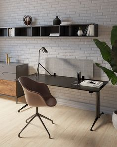 Work seated or standing. The Phoenix Adjustable Office Desk by Morten Georgsen encompasses a function design that is adjustable to your height. The desk is electrically operated when adjusting the height.