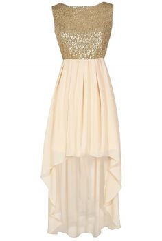 You'll feel angelic and pretty in this dramatic sequin and chiffon high low dress. The Gilded Angel Gold and Ivory Sequin Chiffon High Low Dress is fully lined to the mid-thigh. The top is made of a shimmery gold fabric with miniature sequins throughout Gold Formal Dress, Pink Formal Dresses, High Low Prom Dresses, Grad Dresses, Trendy Dresses, Dance Dresses, Cute Dresses, Beautiful Dresses, Short Dresses