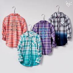 Dip dye plaid shirts with medallion print back detail for a cool rear view.