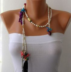 Ivory  Pearl Lariat  Tassel Wrap Necklace Tassel Necklace