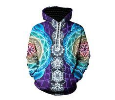 UIDEAZONE Psychedelic Hoodies Trippy Visionary Artwork Rainbow Mandala Chakra Art Sublimation Print Hoodies Men Plus Size 3XL #Affiliate