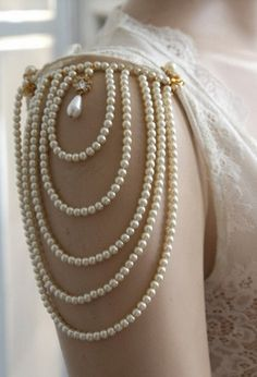 Shoulder Epaulettes Bridal Jewelry Accessories Ivory Pearls And Rhinestones, 1920 Inspiration Shoulders Necklace Wedding Jewelry, OOAK Sea Glass Jewelry, Pearl Jewelry, Body Jewelry, Wedding Jewelry, Silver Jewelry, Rhinestone Jewelry, Hair Jewelry, Antique Jewelry, Vintage Jewelry