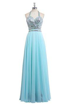 ORIENT BRIDE Women's Crystal Evening Dresses Gown Floor Length Size 6 US Sky Blue