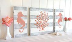Nautical Coral Seahorse Sign Set