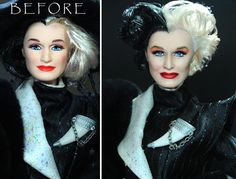 Lulemee Ooak-Art doll before and after