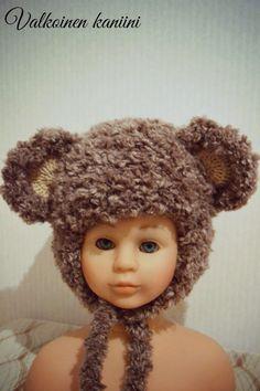 Valkoinen Kaniini: DIY, virkattu nalle-pipo Crochet Hats, Knitting Hats