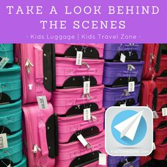 Here is a quick look behind the scenes at Kids Travel Zone! Kids Luggage, Travel With Kids, Travel Style, Behind The Scenes, Personalized Gifts, Unique Gifts, Take That, Children, Young Children
