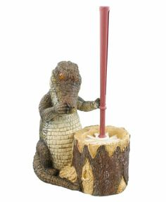 Alligator Toilet Bowl Brush U0026 Holder   Rustic Florida Louisiana Gator Cabin  Camp Swamp Decor Home