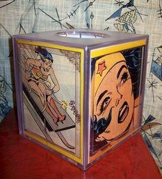 I WANT....but could possibly make myself....Wonder Woman tissue box retro vintage comic book ephemera. $14.95, via Etsy.