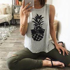 Pineapple Printed Tank Top