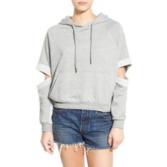 PUBLISH BRAND 'Lucia' Cutout Sleeve Hoodie ($76) ❤ liked on Polyvore featuring tops, hoodies, heather, raglan top, cut-out tops, long sleeve hoodie, raglan sleeve hoodie and long sleeve hoodies