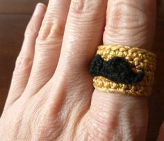 Movember Mustache Moustache Ring — Free crochet pattern!
