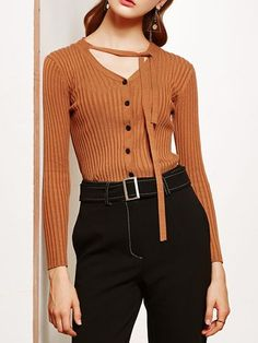 Camel Lace-Up Buttoned Knit Top