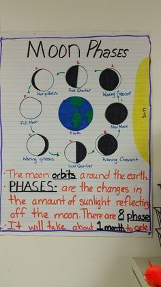 Moon phases anchor chart. Anchor chart that displays the eight phases of the moon.