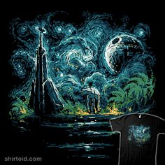 Death Starry Scarif | Shirtoid#atat #deathstar #film #movie #patrickspens #rogueone #scarif #scifi #starwars #starrynight #vincentvangogh