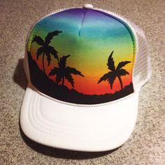 Handpainted palm tree trucker hat youth/ by JulesJewelsJewelry