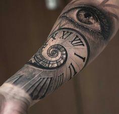 Clock eye tattoo