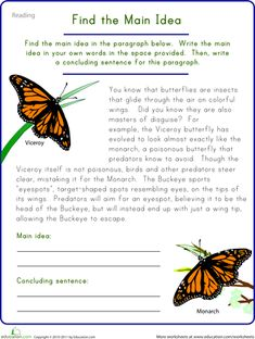 Fifth Grade Comprehension Worksheets: Find the Main Idea: Viceroy Butterfly 5th Grade Worksheets, Language Arts Worksheets, Science Worksheets, Worksheets For Kids, Teaching Main Idea, Have Fun Teaching, Teaching Reading, Teaching Ideas, Teaching Materials