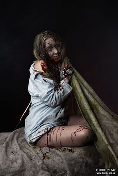 Exorcism Possession - Blood of Christ - - Horrify Me, horror photography and portraits of rotting zombies, evil vampires, demonic demons, dark erotic beauty and boudoir, hanged victims, human autopsy, gross blood and gory concepts, horror icons and much more. www.horrify.me.uk