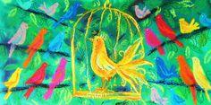 'Golden Bird'  Art Card by Amanda Wright