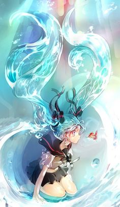 Hatsune Miku, with pigtails of water. (VOCALOID)