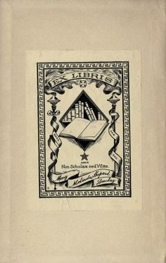 bookplate for Mary Melinda Shepard Barclay ... depicts open book, torches and shelf of books, in 1892 book