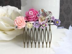 Purple Wedding Vintage Inspired Hair Comb Accessory. Pink Ruffled Rose, Purple Blossom, Blue Butterfly Heart Stone. Bridal Bridesmaids Gift on Etsy, $32.00