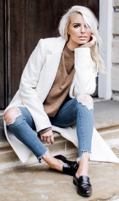 what to wear with a white coat : brown sweater + ripped jeans + loafers
