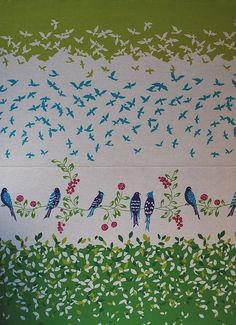 Echino birdsong fabric -- I chose the teal colors rather than green, and it's breathtaking.  Coming soon to a frame near you...since I can't bring myself to cut it for a sewing project.