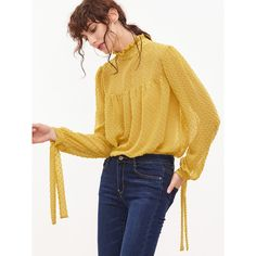SheIn(sheinside) Yellow Tied Ruffle Collar And Sleeve Dot Jacquard Top (£14) ❤ liked on Polyvore featuring tops, yellow, yellow polka dot top, ruffle collar top, jacquard top, frill sleeve top and flounce tops