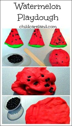 Watermelon Playdough ... smells so yummy and great for fine motor development.