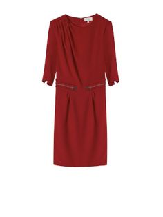 DRAPED NECKLINE CREPE DRESS