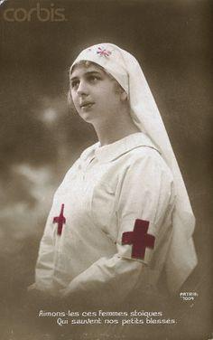 Portrait of a WWI era Red Cross nurse.
