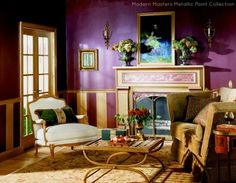 Modern Masters Plum Metallic Paint on the walls of a stunning living room   Modern Masters Cafe Blog