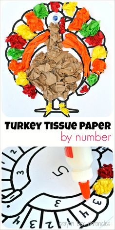 Turkey Tissue Paper by Number by Crayon Box Chronicles Gobble! With Thanksgiving right around the corner, it's a wonderful time to dig into our festive crafts. Today's turkey tissue paper by number craft is simple, fun, and educatio… Thanksgiving Crafts For Kids, Thanksgiving Turkey, Thanksgiving Crafts For Kindergarten, Thanksgiving Desserts, Festive Crafts, Fall Crafts, Kid Crafts, November Crafts, Classroom Crafts