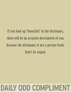 "If you look up ""beautiful"" in the dictionary, there will be an accurate description of you.  Because the dictionary is not a picture book.  Don't be stupid."