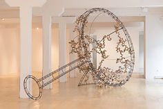 Maud Cotter: Artist, sculptor Sieve, or points of decision in redistribution steel, birch ply, paint, 570 x 250 x 90 cms, 2012-2013